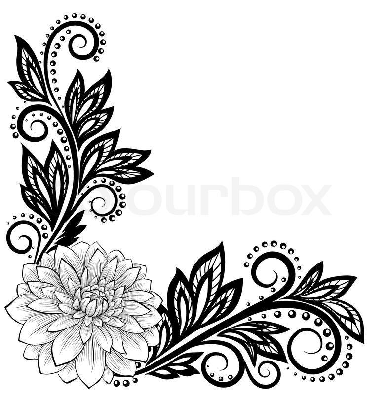 780x800 Beautiful Monochrome Black And White Lace Flower In The Corner