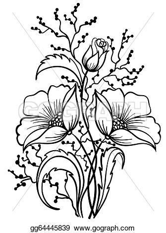 335x470 Flowers Arrangements Clipart Black And White