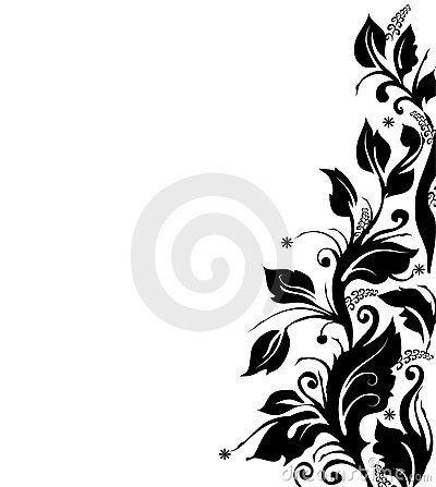 Flowers Black And White Borders Clipart