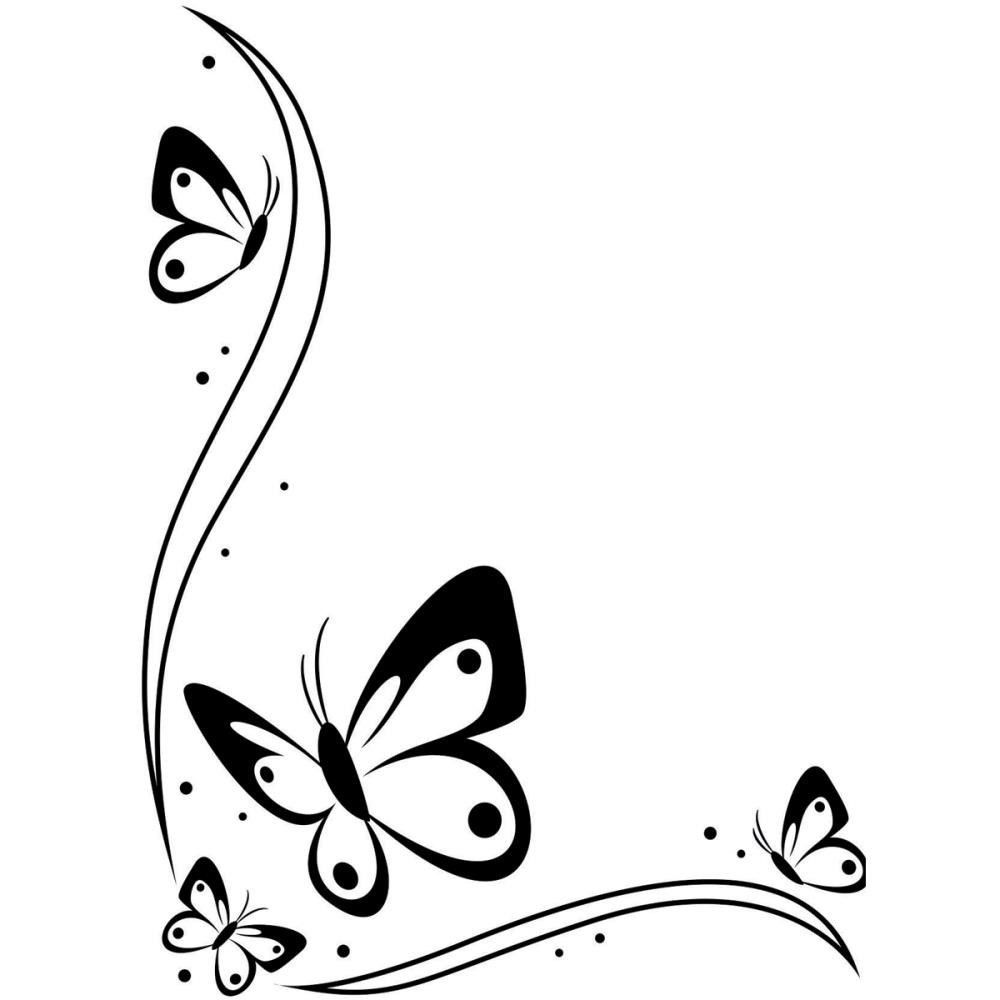 1000x1000 Butterfly And Flower Clip Art In Black And White 101 Clip Art