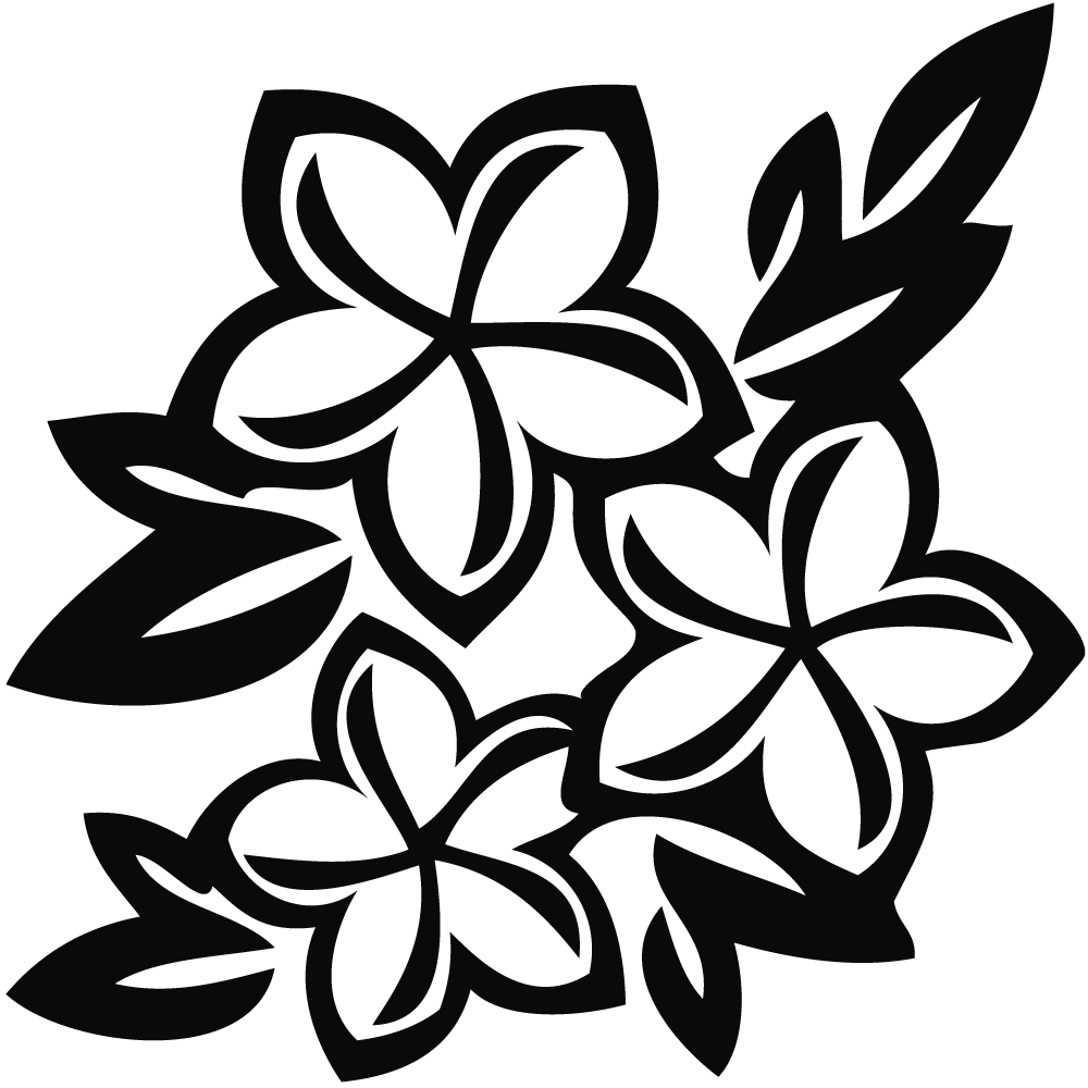 1000x1000 Flower Black And White Hawaiian Flower Clip Art Black And White