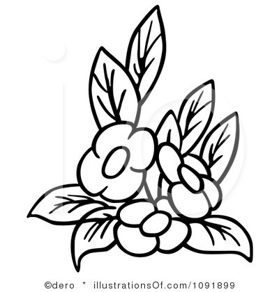400x420 Art Black And White Bouquet Clipart