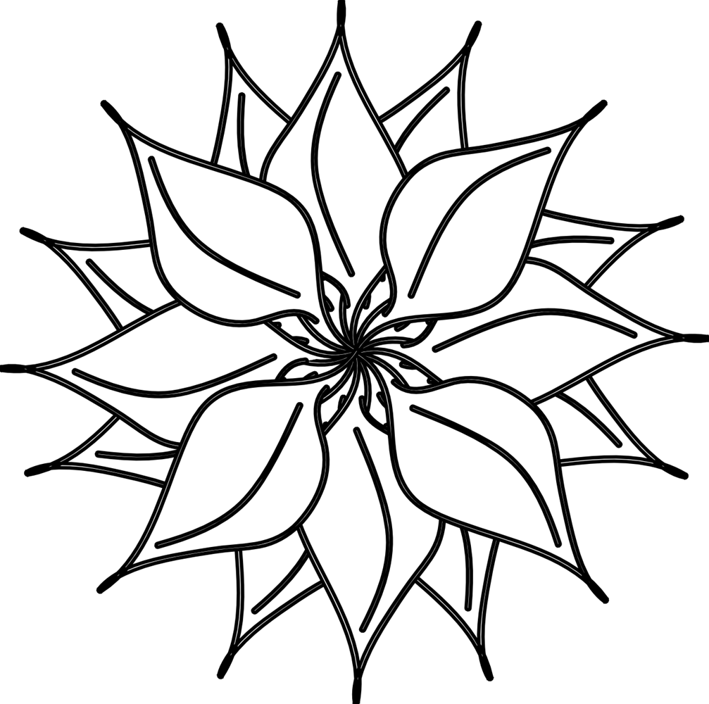 1007x1000 Best Flower Clipart Black And White
