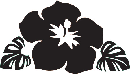 450x258 Hawaiian Flower Clipart Black And White