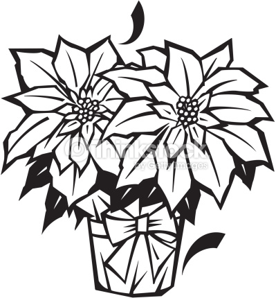 399x430 Black And White Christmas Flower Clip Art Merry Christmas