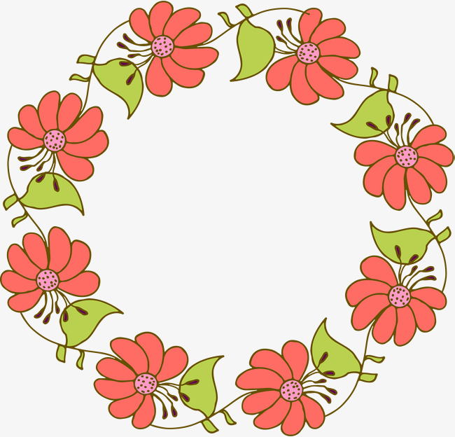 650x624 Cartoon Orange Flower Wreath, Vector Png, Cartoon Flowers, Orange