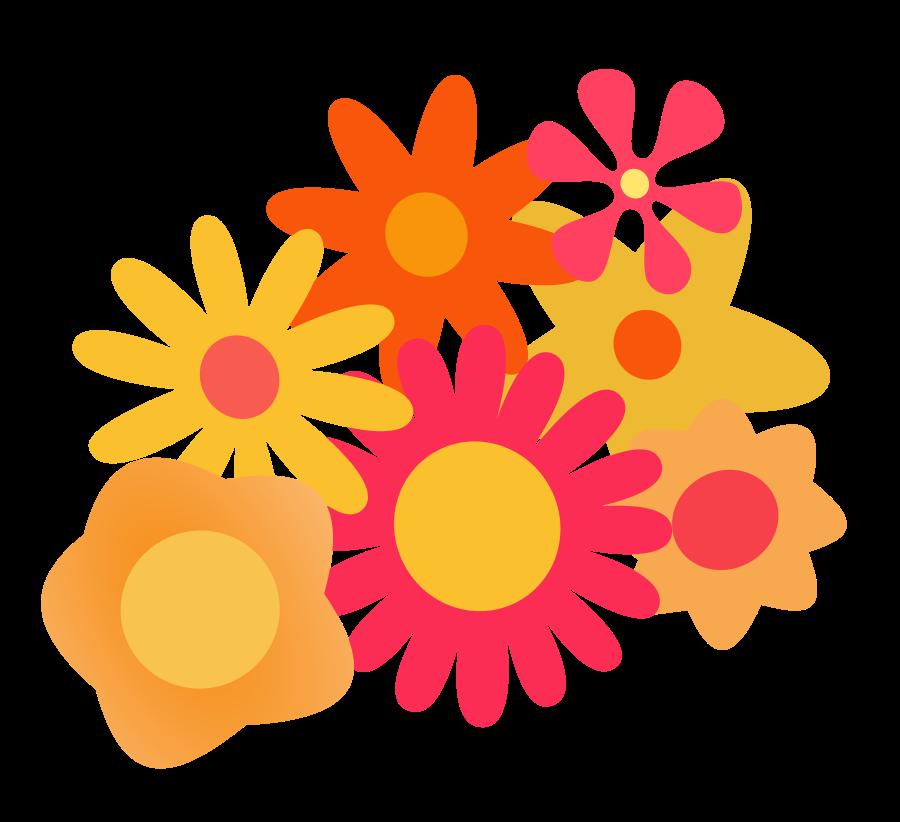 900x822 Orange Flower Clipart Cartoon Vector