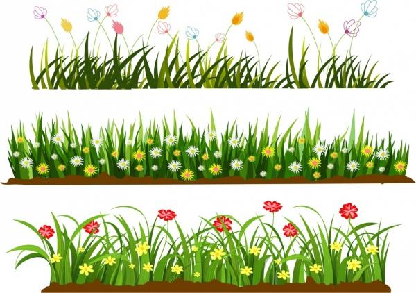 600x422 Wild Grass Flowers Templates Colorful Cartoon Design Vector Flower