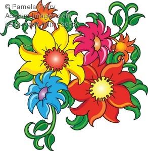 293x300 Art Illustration Of Cartoon Flowers