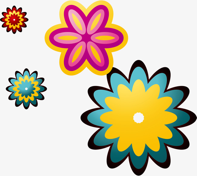 650x583 Cartoon Colorful Flowers, Cartoon, Colourful, Flower Png Image