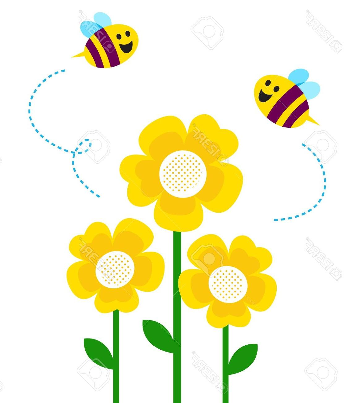 1145x1300 Best Hd Bees And Yellow Flowers Vector Cartoon Stock Bee Flower
