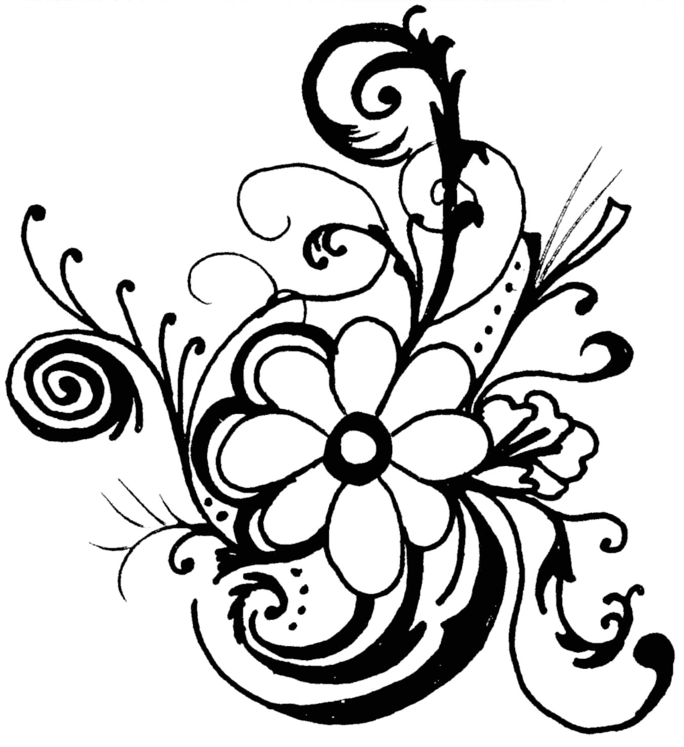 1352x1477 Flowers Clip Art Black And White