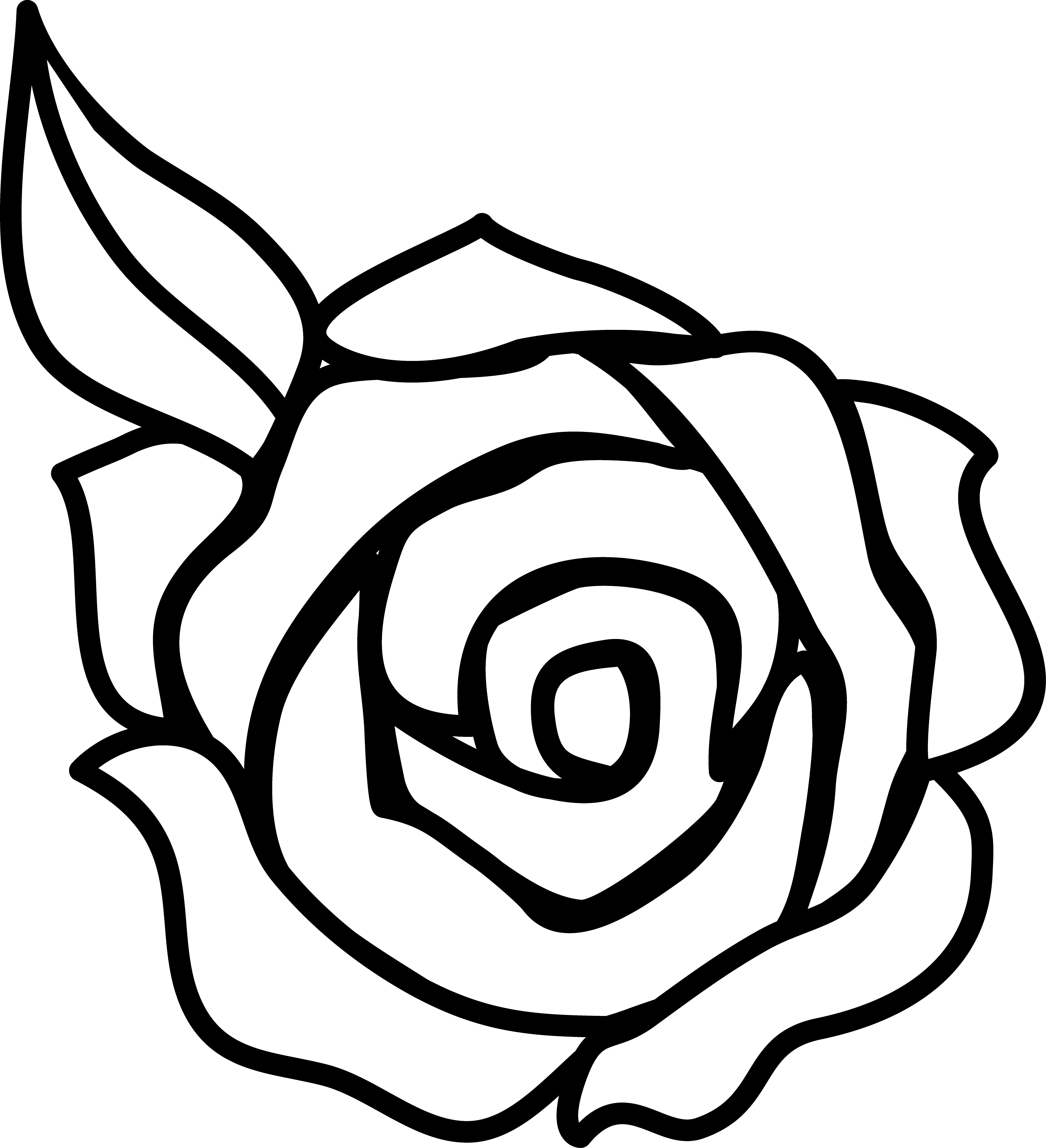 4042x4434 Rose Black And White Rose Clip Art Black And White Free Clipart