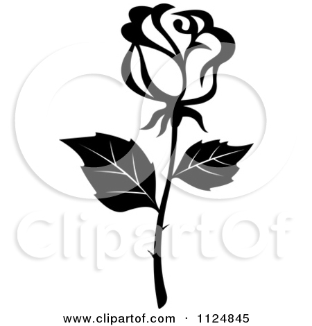 450x470 Simple Black And White Rose Clipart