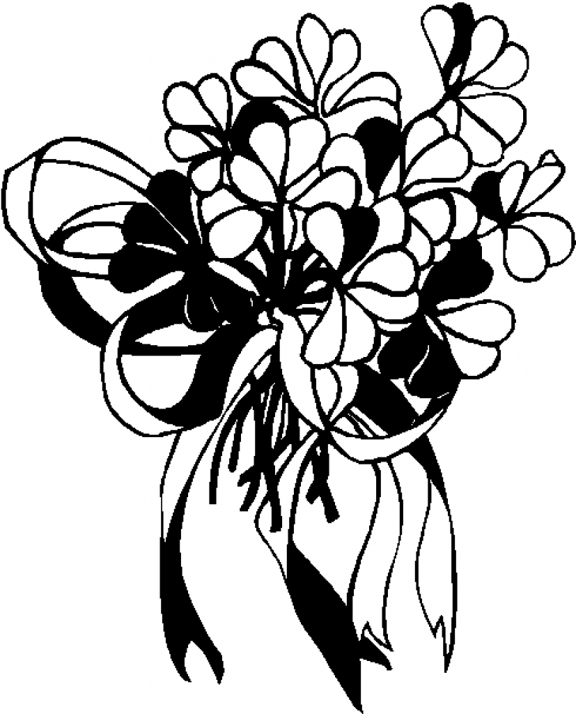 827x1024 Bouquet Clipart Black And White