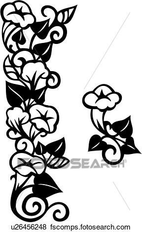 288x470 Clip Art Of , Border, Floral, Morning Glory, Repeatable, Patterned