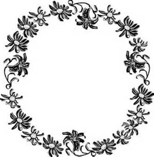 490x500 Flowers Clip Art Border Black And White