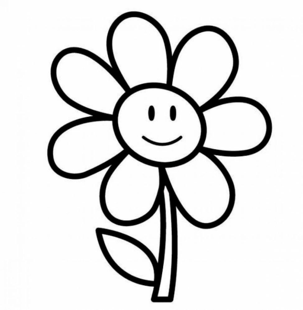 974x995 Coloring Pages Flower Drawing Clipart Flowers For Kids How