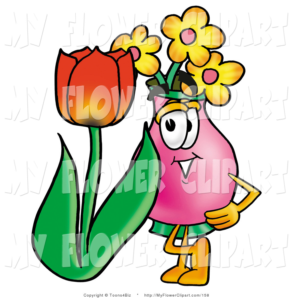 1024x1044 Cliprt Of Pink Vase Of Flowers Mascot Cartoon Character