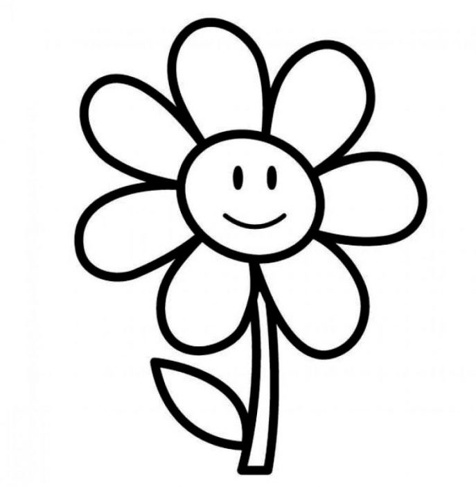 687x702 Coloring Pages Easy Flower To Draw Flowers Coloring Pages Easy
