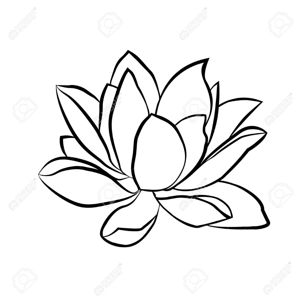 1024x1024 Lotus Flower Line Drawing Lotus Flowers Icon. The Black Line Drawn