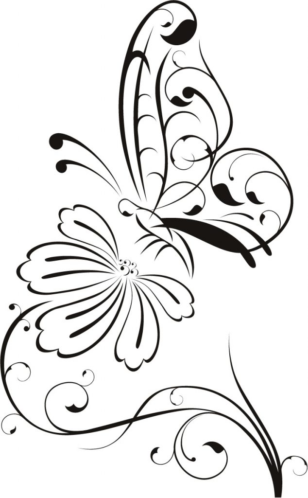634x1024 Butterfly Flower Drawing Butterfly And Flower Drawing Clipart Best