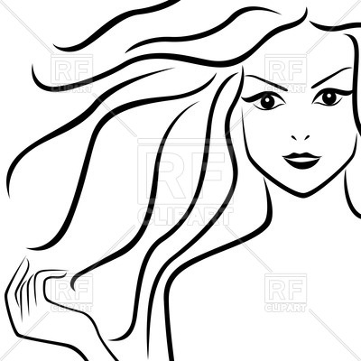 400x400 Portrait Of Beautiful Girl With Flowing Hair Royalty Free Vector