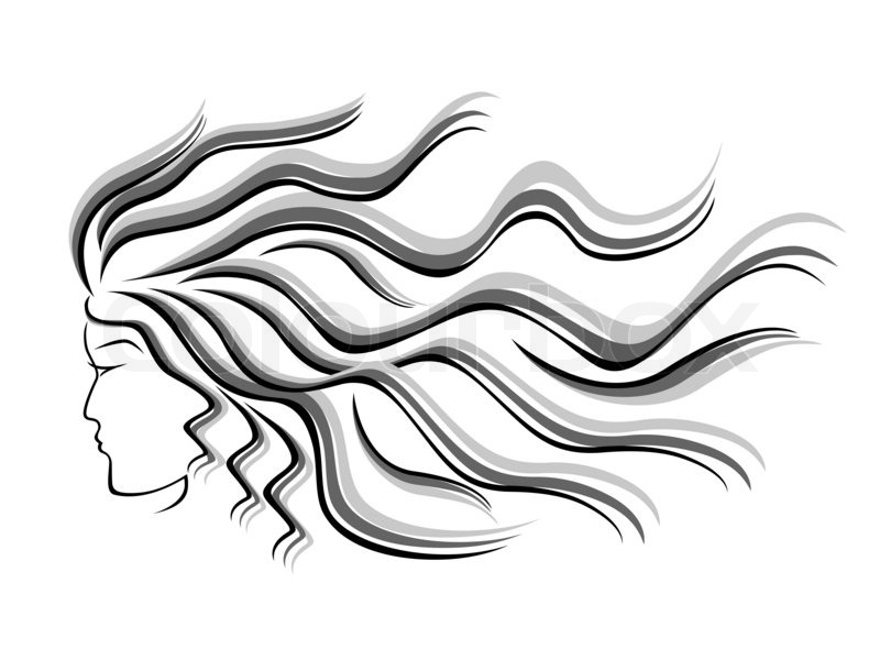 800x600 Black And Grey Silhouette Of Female Head With Flowing Hair, Hand