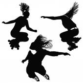 170x170 Silhouette Of A Girl With Flowing Hair Buds Blossoming Stock