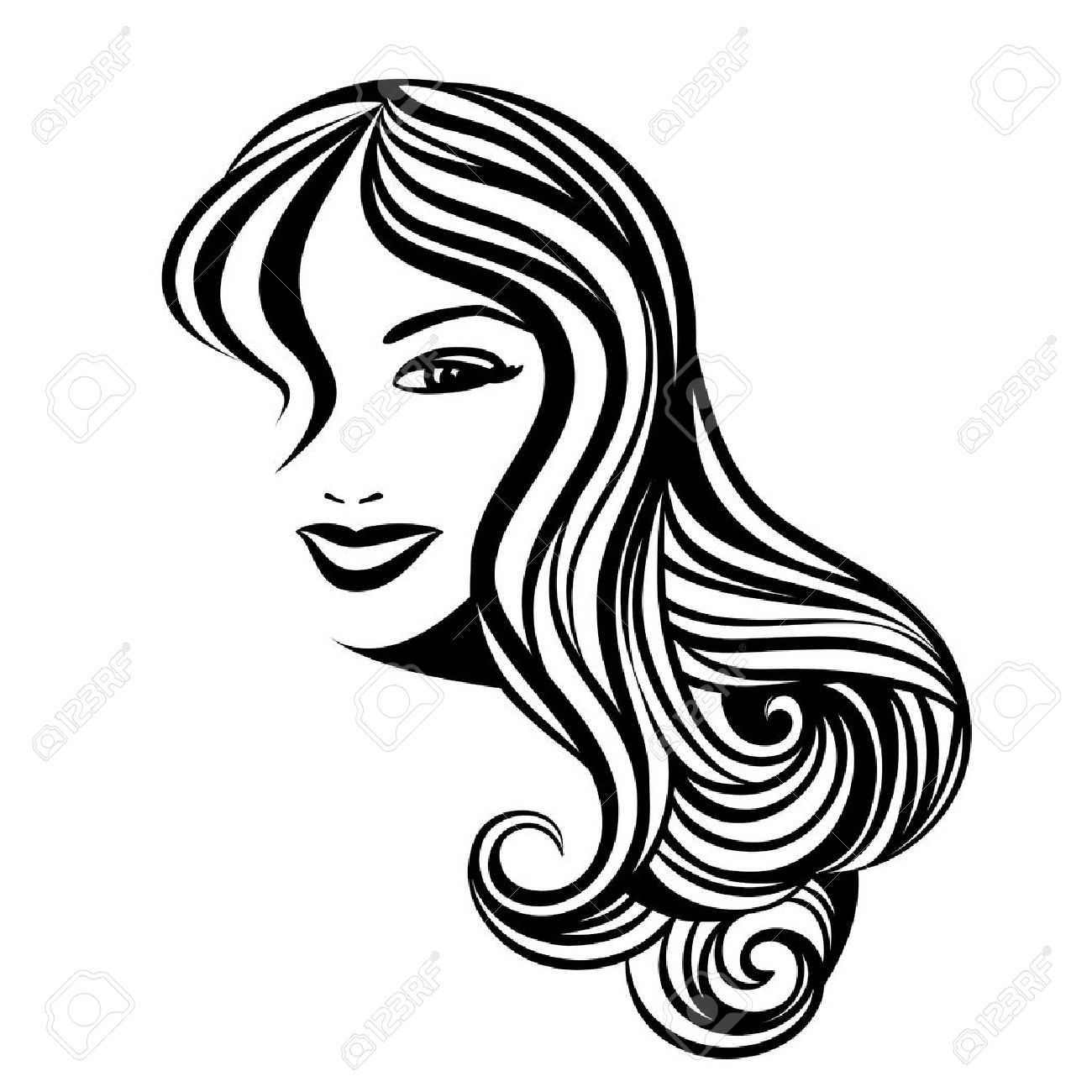 1300x1300 Drawing Of Female Hairstyles In A Variety Of Styles Stock Vector