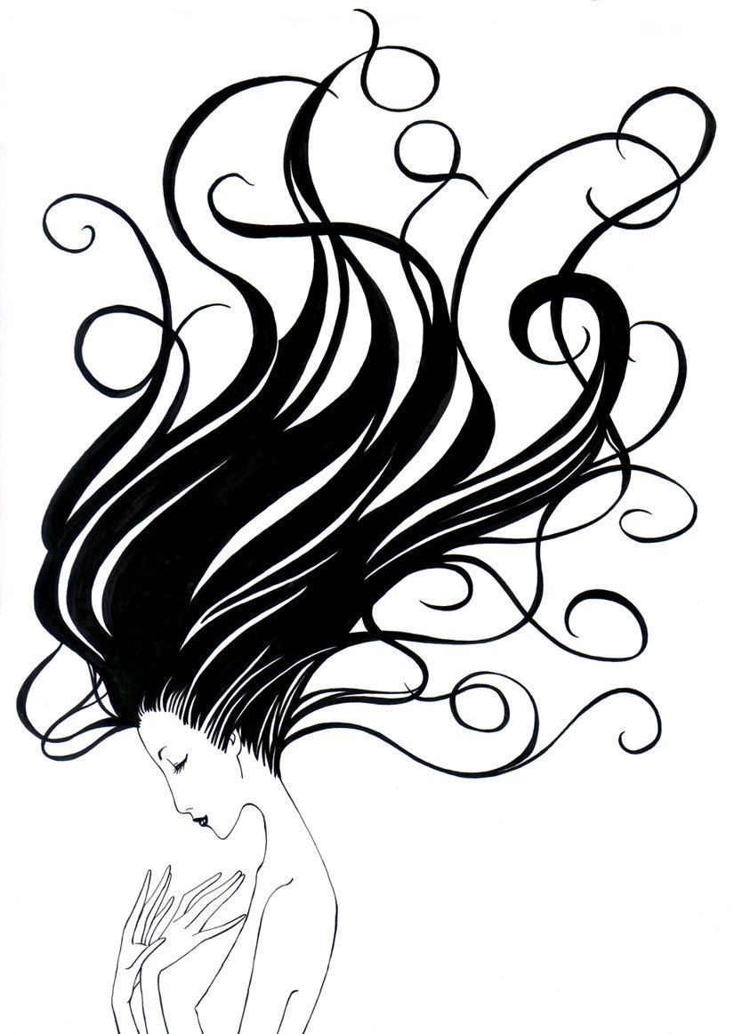834x1162 Drawn Long Hair Flowing Hair