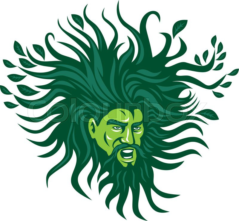 800x738 Illustration Of A Green Man Head Face With Flowing Hair And Leaves