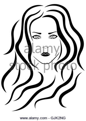 300x420 Abstract Portrait Of Beautiful Girl With Flowing Hair, Hand