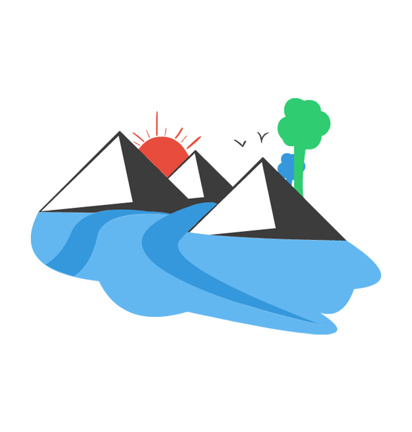 600x630 Mountain And River Clipart 2