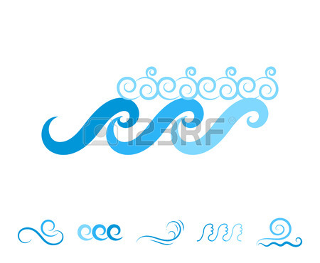 450x370 Wave Icons Or Water Liquid Symbols Isolated On White. Sea, River
