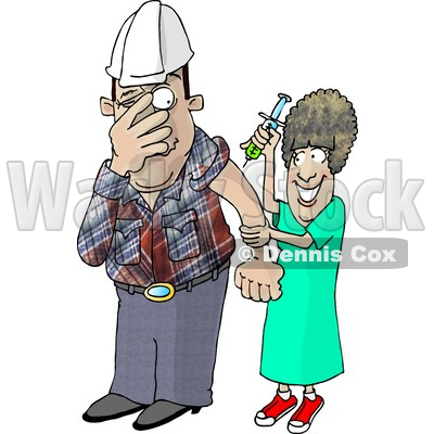 400x400 Worker With Trypanophobia Getting A Flu Shot From A Nurse Clipart