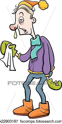 238x470 Clip Art Of Man With Flu Cartoon Illustration K22803187