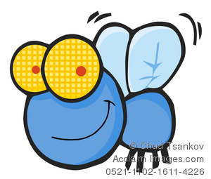 300x255 Smiling Blue Fly Clipart Image