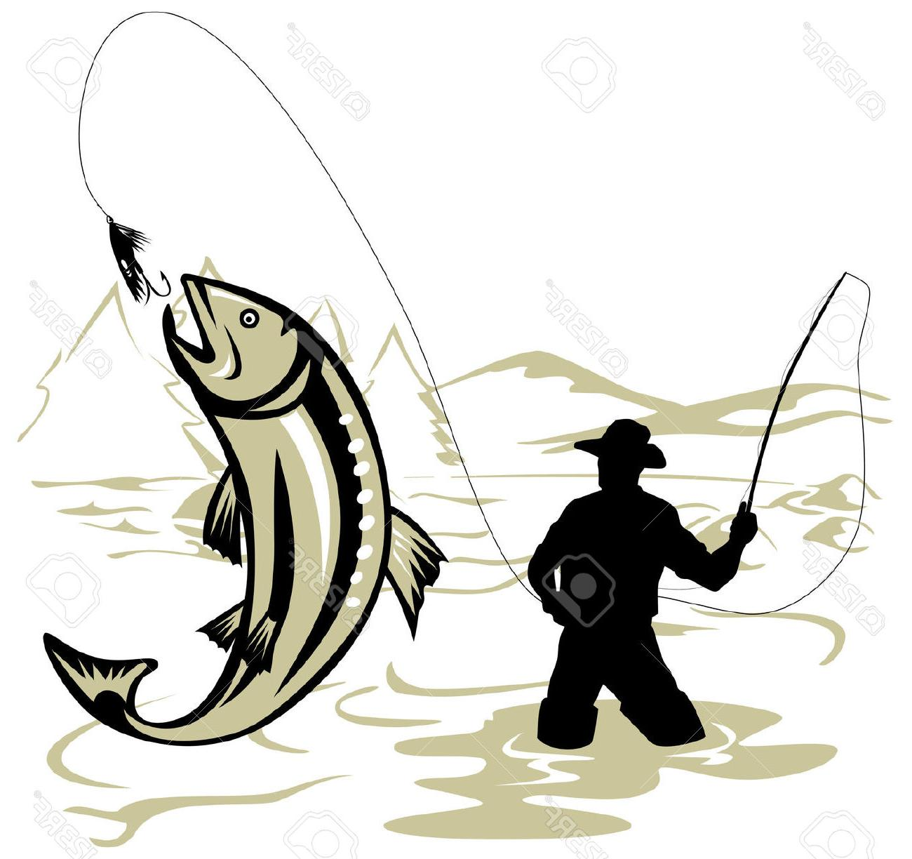 1300x1224 Best Fly Fisherman Catching Leaping Trout Stock Vector Library