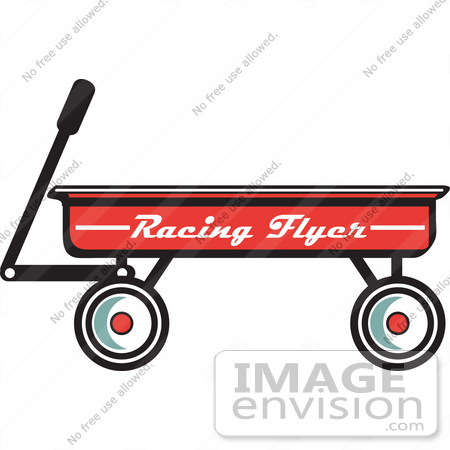 450x450 Royalty Free Cartoon Clip Art Of A Red Pull Wagon