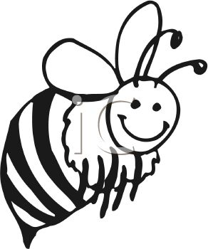292x350 Black And White Clip Art Image Of A Bumble Bee Flying With A Smile
