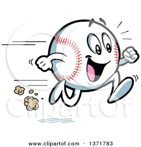 450x470 Clipart Of A Happy Energetic Baseball Character Running