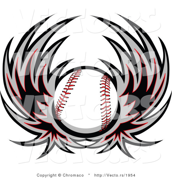 600x620 Vector Of A Flying Baseball With Wings By Chromaco