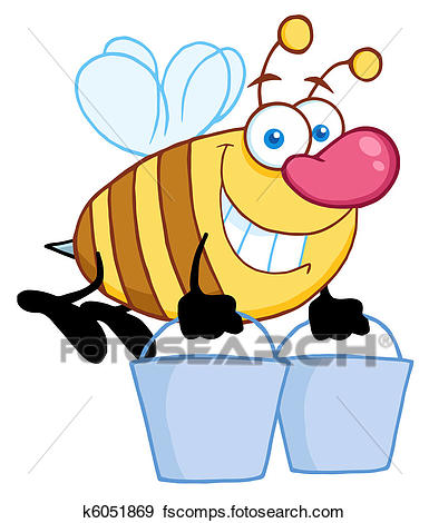 385x470 Clip Art Of Honey Bee Flying With A Buckets K6051869