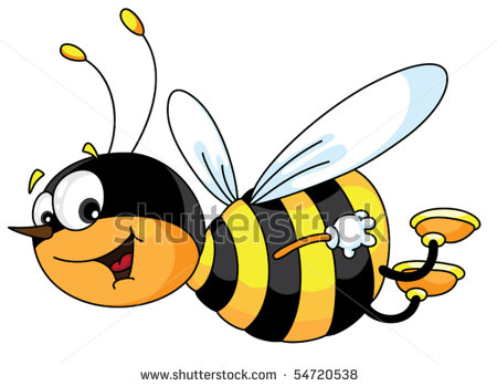 450x349 Of A Happy Bee Flying Through The Air With A Smile In A Vector