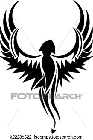 311x470 Clipart Of Tattoo Design Of Flying Bird, Vintage Engraving