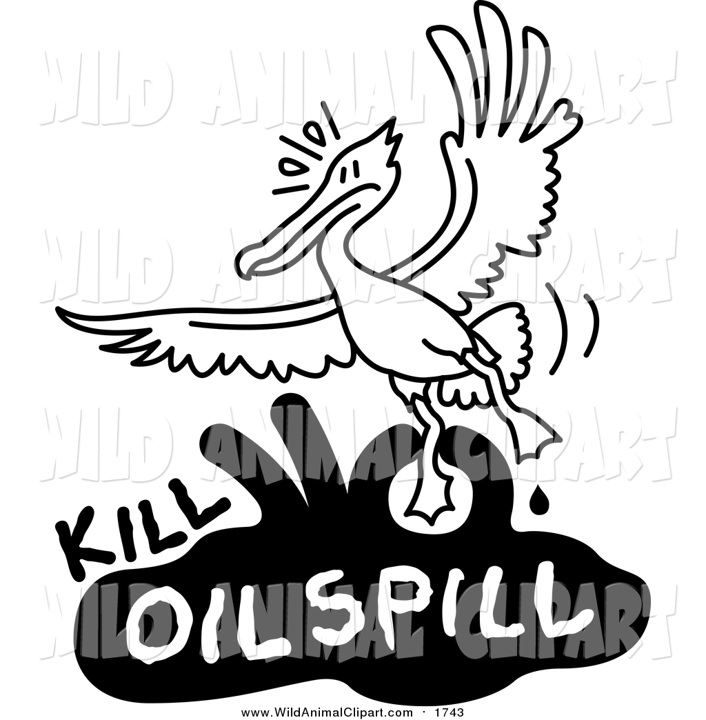 1024x1044 Clip Art Of A Black And White Bird Flying Over Kill Oil Spill Text