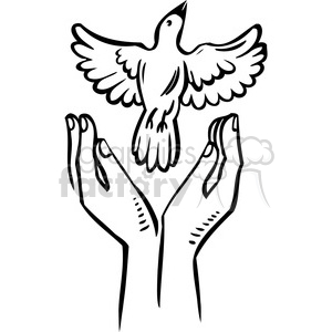 300x300 Royalty Free Eco Bird Flying Hands 018 386170 Vector Clip Art