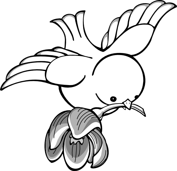 600x581 Bird Flying With Flower Clip Art