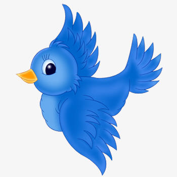 350x350 Blue Flying Bird, Blue, Cartoon, Hand Painted Png Image For Free